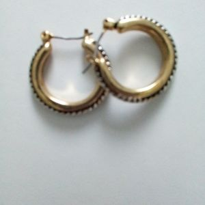 Bay Studio Earrings 2Tone Rope Hoop